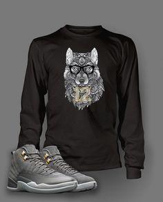 630781307af2 Long Sleeve T Shirt To Match Retro Air Jordan 12 Cool Grey Shoe Custom Mens  Tee
