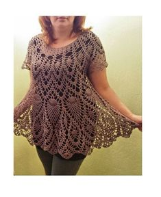Diy Crafts - Frost Gray Crochet Cotton Tunic / Top / Cover Up / Relax fit / Bateau neckline / Size L-XL / Ready to Ship: Crochet Tank Tops, Crochet Tunic, Hand Crochet, Crochet Clothes, Crochet Lace, Cotton Tunic Tops, Pineapple Crochet, Crochet Woman, Crochet Fashion
