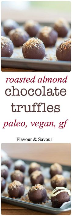 These no-bake Roasted Almond Chocolate Truffles have all the flavour and decadence of a traditional truffle, but they're suitable for paleo, vegan and gluten-free diets. Dessert Sans Gluten, Paleo Dessert, Gluten Free Desserts, Vegan Desserts, Dessert Recipes, Almond Chocolate, Chocolate Truffles, Chocolate Recipes, Chocolate Muffins