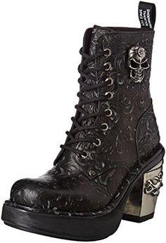New Rock Shoes Ladies Black Vintage Flower Lace Up Platform Boots UK 5/Black