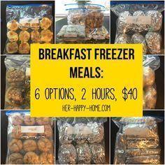 Breakfast Freezer Meals 6 options 2 hours 40 - Her Happy Home # Make Ahead Freezer Meals, Crock Pot Freezer, Freezer Cooking, Freezer Recipes, Bulk Cooking, Budget Freezer Meals, Individual Freezer Meals, Cooking Tips, Healthy Crockpot Freezer Meals