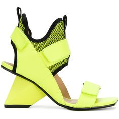 Issey Miyake Rise sandals (31.245 RUB) ❤ liked on Polyvore featuring shoes, sandals, yellow sandals, lime green shoes, leather sandals, issey miyake shoes and yellow shoes