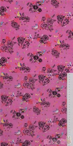 "pink cotton fabric with yellow blue purple birds on flower bunch, Material: 100% cotton, Fabric Type: smooth cotton fabric, Pattern Repeat: ca. 18.5cm (7.2"") #Cotton #Animals #AnimalPrint #Flower #Leaf #Plants #Birds #USAFabrics"