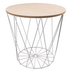 Tisch-Design-Beistelltisch-Drahtkorb-Metall-mit-Deckel-Weiss-Schwarz-40cm