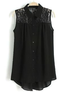 Black Lapel Sleeveless Contrast Lace Chiffon Blouse