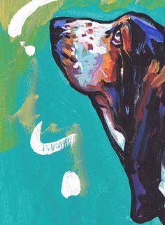 Basset Hound art PRINT of pop art painting bright by BentNotBroken