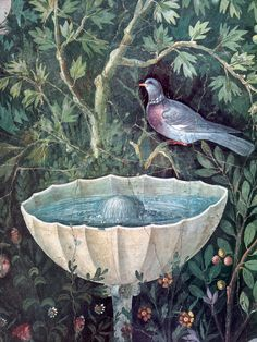 Lovely painting - - - Fountain and bird (detail) from a fresco of the triclinium of the House of the Golden Bracelet, Pompeii, Italy.