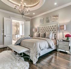 Home Bedroom, Bedroom Decor Glam, Bedroom Design, Dream Bedroom Glam Bedroom, Home Decor Bedroom, Modern Bedroom, Contemporary Bedroom, Trendy Bedroom, Modern Contemporary, Bedroom Neutral, Classy Bedroom Ideas, Bedroom Wardrobe