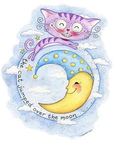 The Cat Jumped Over the Moon  ORIGINAL Illustration by thesnippets