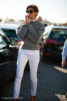 White Jeans and Fall Sweater, Outside Hermes