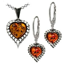 Sterling Silver Amber Heart Earrings and Pendant on Rolo Chain Set 18 Inches GRACIANA. $49.98. All amber jewelry designs are from Eastern Europe