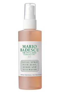 "Next to Clarins Beauty Flash Balm, this product is my favorite part of my beauty regime.  I use it to wake up, to set my makeup, and just to refresh during the day.  Plus, my one year old is always asking for a ""spritz"" - her first word because of this product! Mario Badescu Facial Spray with Aloe, Herbs & Rosewater available at #Nordstrom"