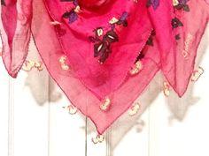 Hot pink vintage Turkish yazma scarf  hand block by Nezihe1