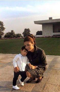 Empress Farah Pahlavi with her son Prince Ali-Reza Pahlavi.