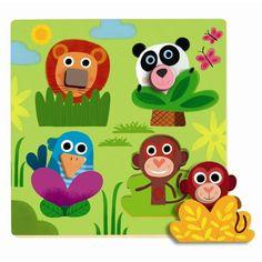 Djeco Holz Steckpuzzle Junglanimo Tiere Dschungel mit Greifknöpfen für Kleinkinder ab 12 Monaten