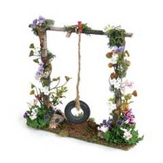 Miniature Tire Swing on Floral Frame