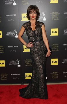 baa7793d73 Lisa Rinna looking gorgeous in THEIA at the Daytime Emmy Awards Black Lace  Gown