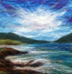 Felted Artwork-Original felted landscapes by Tracey McCracken Palmer. Wet felting and needle felting techniques are used to create beautiful works of art. Wet Felting Projects, Needle Felting Tutorials, Felt Projects, Felt Wall Hanging, Felt Pictures, Wool Art, Landscape Quilts, Felt Art, Felt Animals
