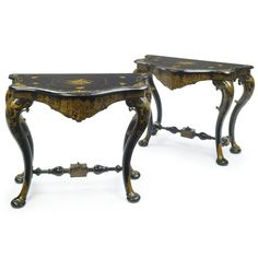 A pair of German Chinoiserie parcel-gilt black japanned console tables 19th century | lot | Sotheby's