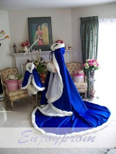 Royal Blue Winter Bridal Cloak Long Girls Cape Tippet Stole Shawl Bolero Satin Fabric Custom Made With Faux Fur Online with $104.72/Piece on Enjoyprom's Store | DHgate.com