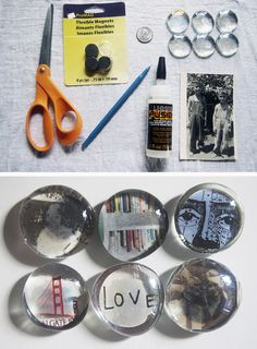 """Make your own tiny Photo Fridge Magnets. You know what they say, """"Whenever possible, use photos to hold up other photos!"""" It's super simple with this DIY for absolutely anyone."""