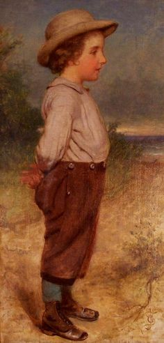 "(Close-up without frame.) Seymour Joseph Guy. ""Young Boy at the Seashore."" 1850"