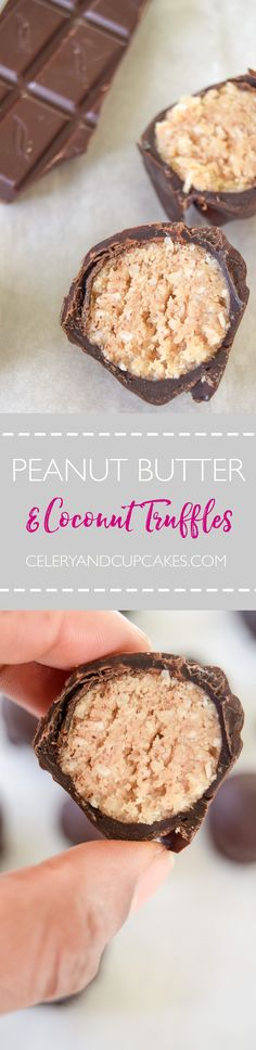 Homemade chocolate truffles with tasty peanut butter and coconut centres.