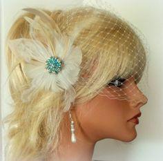 Wedding Fascinator Ivory Bridal Veil Bridal Hair by kathyjohnson3