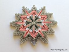 Snowflake Pink Gray Christmas Tree Decoration Winter Ornaments Gifts Toppers Fillers Office Corporate Paper Quilling Quilled Art