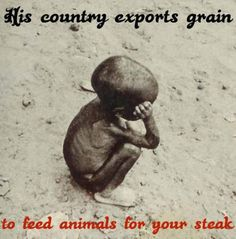 Heartbreaking, yet we keep slaughtering, keep eating meat, while innocent humans starve to death. Doesn't make sense.