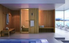 Sauna sauna cabin for two persons wood wall tiling bench towel holder glass frontage Hita