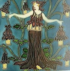 'Columbine' tile, from - Flora's Retinue set - by Walter Crane, for Pilkington Tile & Pottery Co (1900's)