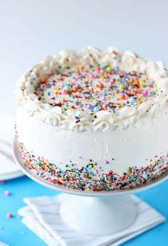 Birthday Ice Cream Cake - a vanilla cake sandwiched between vanilla ice cream.