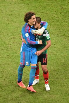 Guillermo Ochoa Guillermo Ochoa and Javier Hernandez of Mexico celebrate after a 3-1 victory in the 2014 FIFA World Cup match against Croatia on June 23, 2014.