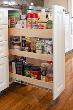 Make the most of a small space with our kitchen solutions! Small Kitchen Space Savers, Kitchen Remodel, Kitchen Reno, Kitchen Island, Kitchen Ideas, Custom Shelving, Cabinet Space, Space Saving Furniture, House Rooms