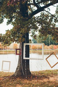 What a great backdrop for a wedding ceremony. Picture frames and a big tree over looking the lake. How much more perfect could it get??? Style Me Pretty  Photography By / http://puregoldphoto.com,Floral Design By / http://adaptationfloraldesign.com