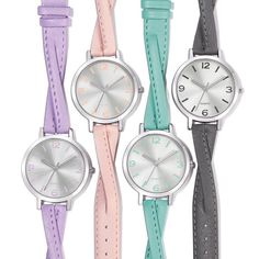 """Let your wrist take on a trendy touch of color!Silvertone round faced watch with a a criss cross strap in your choice of lavender, peach, mint, or grey. Face of watch features hour markers that match the strap color.FEATURES•9"""" L x 1/2"""" W strap• Face with case: 1 5/16"""" in diameter/Face without case: 1 1/8"""" in diameter•SR626SW battery• Splash-proof• Quartz-PC21J-Movement•Buckle closure•24 grams in weight• Made i..."""