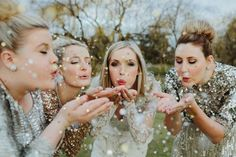 Fun Bridal Party Shot, if doing a winter wedding in Florida could use glitter to create snow affect