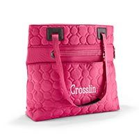 HaHa this just freaked me out. You just don't see Crosslin very much....and Yet here it is!! Vary You™ Versatile Bag in Coral Quilted Dots | Thirty-One Gifts