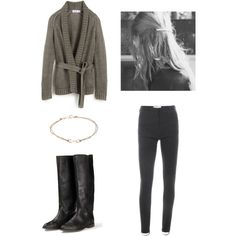 A fashion look from February 2013 featuring linen tops, gray pants and leather equestrian boots. Browse and shop related looks.