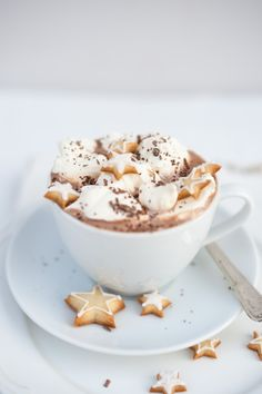 Spiced hot chocolate with cardamom stars