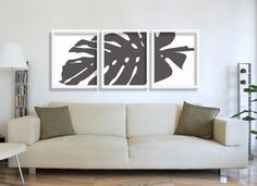 BW Monstera 3 Piece Print Set  - downloadable design with a subtle texture throughout Print the image right away from home (perfect paired with a frame for an instant gift!). An easy and affordable way to add fine art to your home or office with this artwork. Digital prints are great for several reasons. No waiting for a shipped item to arrive, and you can access your beautiful new artwork right away! Theyre affordable and convenient. You can print on mugs, blouses, iPhone cases, posters…