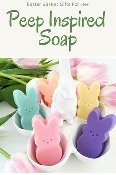 These adorable bunny peeps are ready to hop right into your tub and bring a smile to any peep in your life. Scented in yummy jelly beans in all the colors of the rainbow. Adorable for all ages.  One of our favorite soap gifts to give your besties and your peeps. And of course great in Easter baskets too.  #easter #easterbasket #spring #etsy  #etsyshop #estystore #afflink  #springdecor #bathbombs #bathsoap  #handmade #rusticspringdecor #rustic #rusticeasterdecor #gifts…