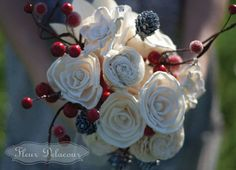Flowers // Winter bouquet: White flowers, red cranberries and silver pinecones