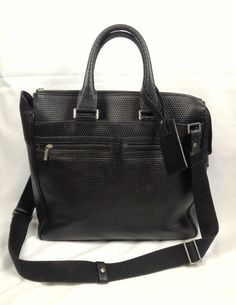 b3e8147094a 100% Authentic A.Testoni Honeycomb Stamped Calf Leather Shoulder Bag Black   ATestoni