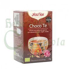 Yogi Tea, Infusión Ayurvédica Ecológica Choco Té, una deliciosa y tierna mezcla de especias de chai tradicional y cáscara de cacao. El cacao se une con el regaliz dulce