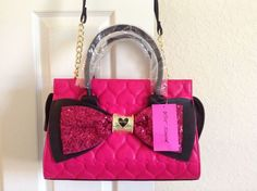 Betsey Johnson Lady Sequence Bow Satchel Quilted Heart Fuchsia BB17305 #BetseyJohnson #Satchel