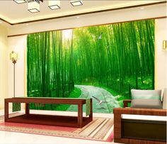 3d wallpaper custom mural Forest Road bamboo painting wall papers home decoration 3d wall murals wallpaper for walls 3 d #Affiliate