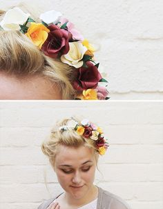 Make This: Paper Flower Hair Accessory DIY // i'm putting this on my hair/makeup board since this is a great DIY idea, but even better as a style idea.