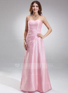 A-Line/Princess Sweetheart Floor-Length Ruffle Zipper Up Strapless Sleeveless No Candy Pink Spring Fall General Plus Taffeta Bridesmaid Dress